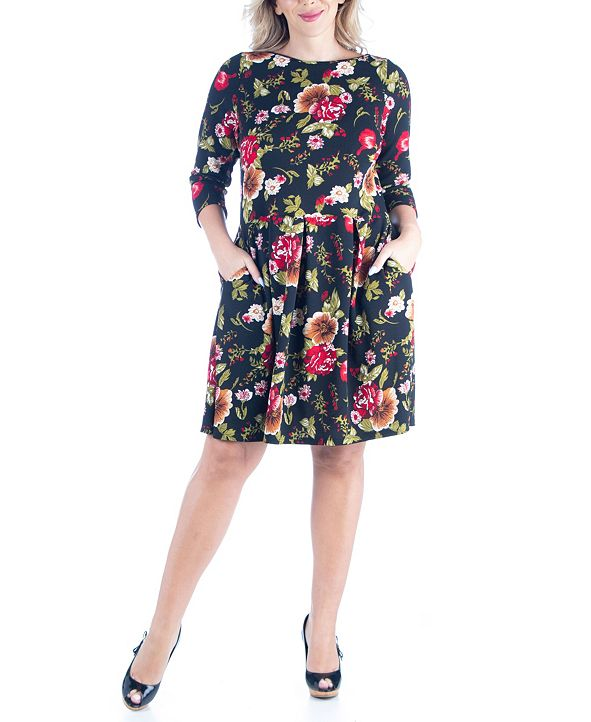 24seven Comfort Apparel Women's Plus Size Fit and Flare Party Dress
