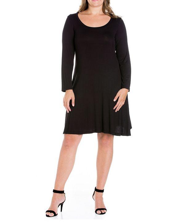 24seven Comfort Apparel Women's Plus Size Flared Dress