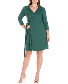 Women's Plus Size Collared Wrap Dress