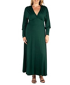 Women's Plus Size Bishop Sleeves Maxi Dress