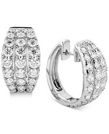 Diamond Triple Row Hoop Earrings (3 ct. t.w.) in 14k White Gold