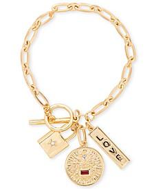 Gold-Tone Crystal Love Multi-Charm Link Bracelet