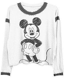 Juniors' Mickey Mouse Long-Sleeved Graphic T-Shirt