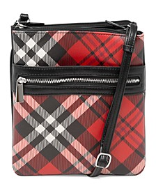 Triple-Zip Saffiano Plaid Dasher Crossbody, Created for Macy's