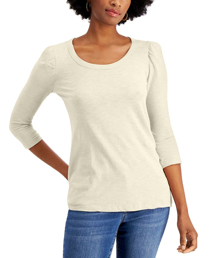 Style & Co - Cotton Puff-Sleeve Top