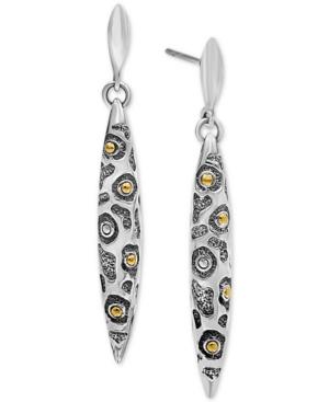 Leopard Marquise Drop Earrings in Sterling Silver & 18k Gold