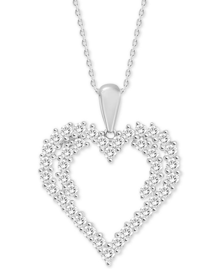 "Macy's - Diamond Heart 18"" Pendant Necklace (1/2 ct. t.w.) in 14k White Gold"