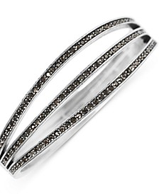 Silver-Tone Pavé Triple-Row Bangle Bracelet