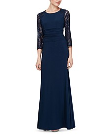 Ruched-Waist Lace-Sleeve Gown