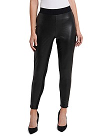 Pull-On Faux-Leather Leggings