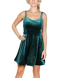Juniors' Velvet Sparkle Fit & Flare Dress
