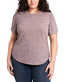 Trendy Plus Size Metallic Ribbed Top
