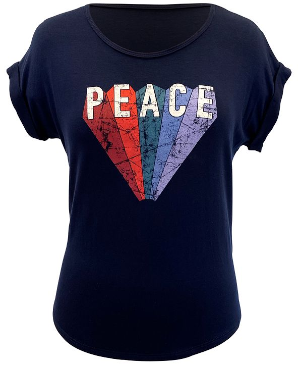 Style & Co Plus Size Peace-Graphic Top, Created for Macy's