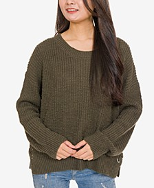 Hippie Rose Juniors' Crew-Neck Side-Lace-Up Sweater