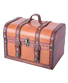 Decorative Wood Leather Treasure Box - Large Trunk