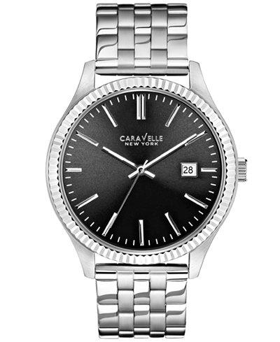 caravelle new york by bulova men s stainless steel bracelet watch caravelle new york by bulova men s stainless steel bracelet watch 41mm 43b131