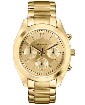 Caravelle New York by Bulova Women's Chronograph Gold-Tone Stainless Steel Bracelet Watch 36mm 44L118