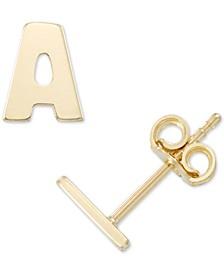 Initial Stud Earrings in 10k Gold
