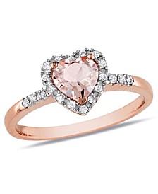 Morganite and Diamond Halo Heart Ring
