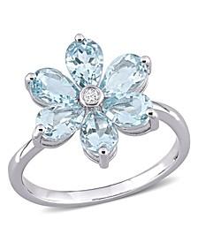 Aquamarine and Diamond Accent Floral Ring