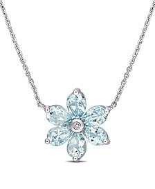Aquamarine and Diamond Accent Floral Necklace
