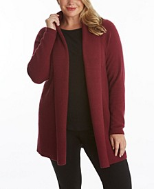 Women's Plus Size Ribbed Long Sleeve Open Cardigan