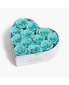 Heart Box of 12 Tiffany Blue Real Roses Preserved to Last Over a Year