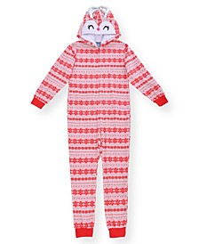 Big Girl's Fair Isle Print Minky Fleece Onesie with Novelty Reindeer Hood