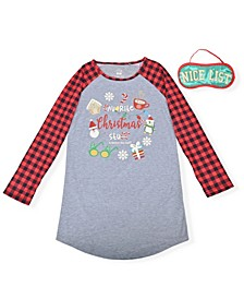Big Girl's 2 Piece Christmas Printed Sleep Shirt with Eye Mask