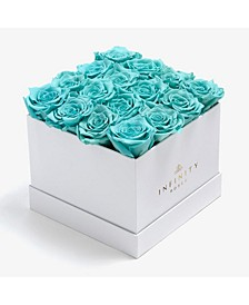Square Box of 16 Tiffany Blue Real Roses Preserved to Last Over a Year