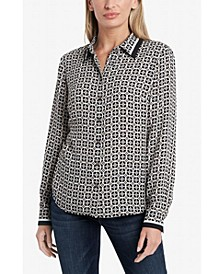 Women's Long Sleeve Button Down Blouse
