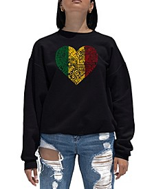 Women's Word Art Crewneck One Love Heart Sweatshirt