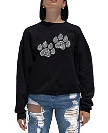 Women's Word Art Crewneck Woof Paw Prints Sweatshirt