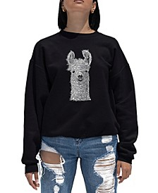 Women's Word Art Crewneck Llama Sweatshirt