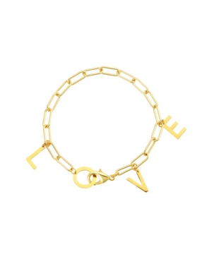 Love Dangle Paper Clip Chain Bracelet