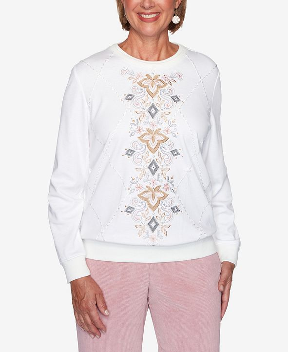 Alfred Dunner Women's Plus Size Glacier Lake Center Scroll Embroidery Top