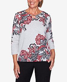 Women's Plus Size Knightsbridge Station Paisley Scroll Print Sweater