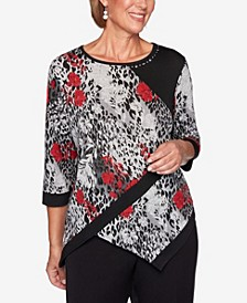Women's Plus Size Knightsbridge Station Spliced Animal Print Floral Top