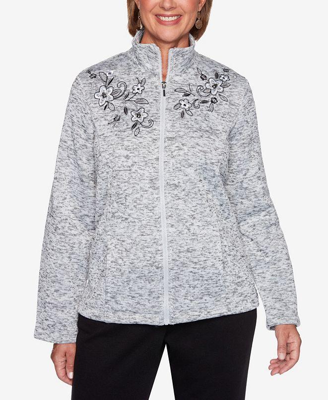 Alfred Dunner Women's Plus Size Modern Living Novelty Embroidered Melange Jacket