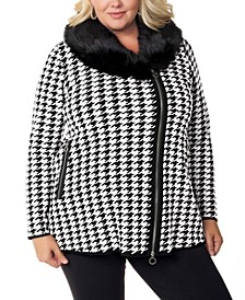 Black Label Women's Plus Size Houndstooth Faux Fur Collar Sweater Jacket