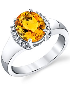 Citrine (2-1/2 ct. t.w.) & Diamond (1/6 ct. t.w.) Ring in Sterling Silver