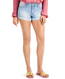 Juniors' Flipped Frayed-Hem Jean Shorts