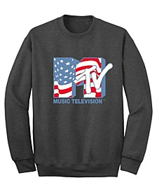 Men's Mtv American Flag Crew Fleece Sweatshirt