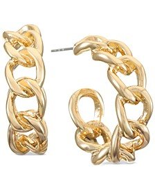 "Gold-Tone Small Chain-Link C-Hoop Earrings, 1"", Created for Macy's"