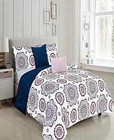 Faith Reversible Queen Comforter Set, 5 Piece