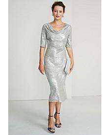 Metallic Cowlneck Midi Dress
