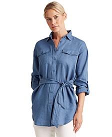 Utilitarian Style Linen Shirt