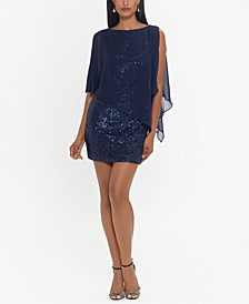 Sheer-Overlay Sequinned Sheath Dress