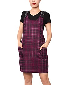 Juniors' Faux-Leather Strap Plaid Dress