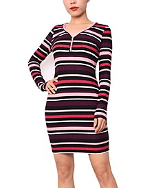 Juniors' Striped Henley Bodycon Dress